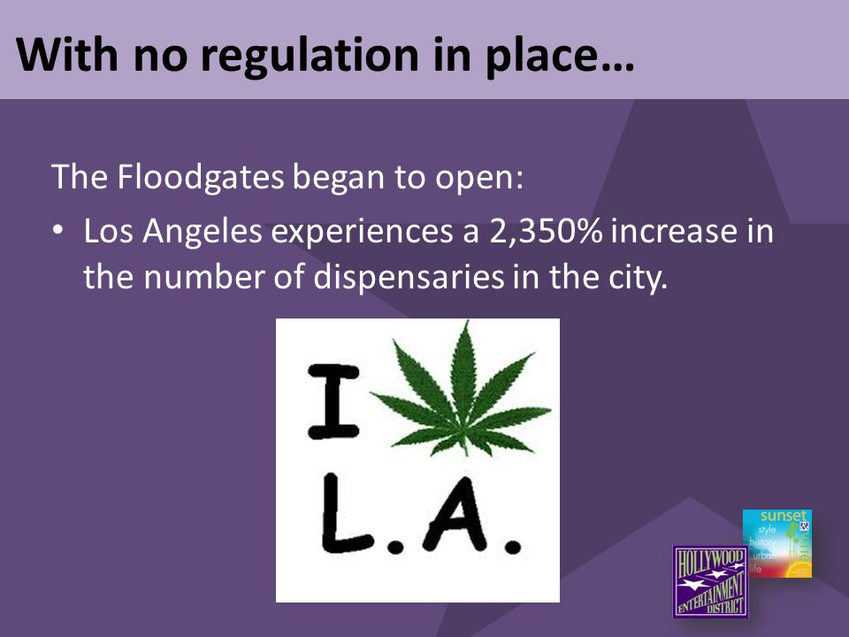With no regulation in place… The Floodgates began to open: Los Angeles experiences a 2,350% increase in the number of dispensaries in the city.