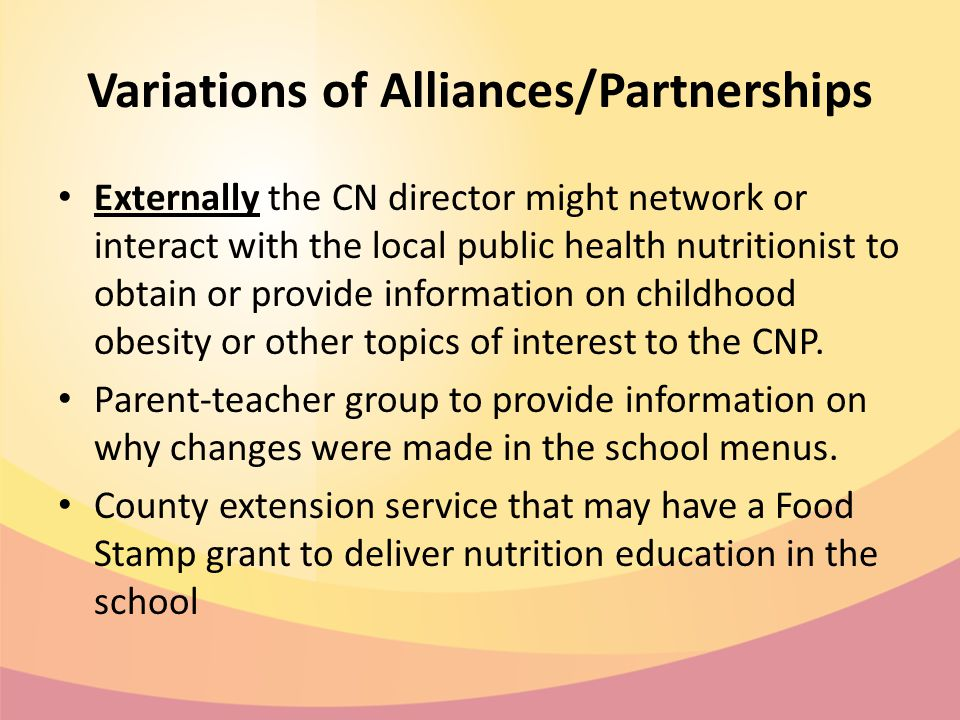 Variations of Alliances/Partnerships Externally the CN director might network or interact with the local public health nutritionist to obtain or provide information on childhood obesity or other topics of interest to the CNP.