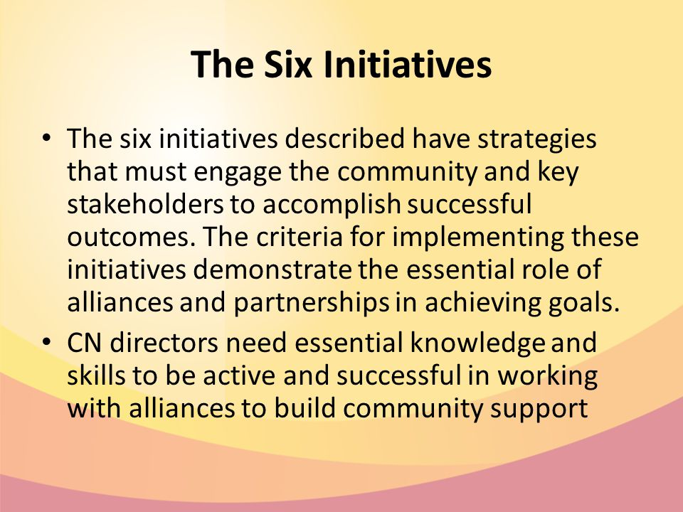 The Six Initiatives The six initiatives described have strategies that must engage the community and key stakeholders to accomplish successful outcomes.