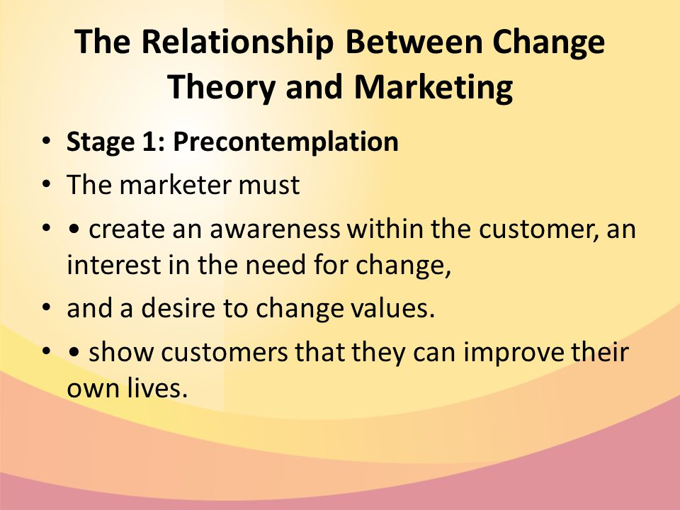 The Relationship Between Change Theory and Marketing Stage 1: Precontemplation The marketer must create an awareness within the customer, an interest in the need for change, and a desire to change values.