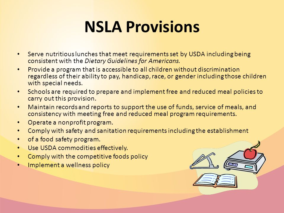 NSLA Provisions Serve nutritious lunches that meet requirements set by USDA including being consistent with the Dietary Guidelines for Americans.