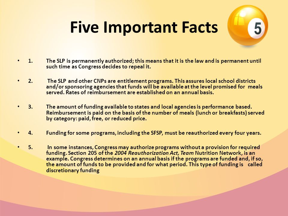 Five Important Facts 1.The SLP is permanently authorized; this means that it is the law and is permanent until such time as Congress decides to repeal
