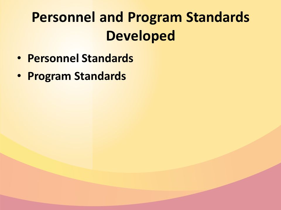Personnel and Program Standards Developed Personnel Standards Program Standards