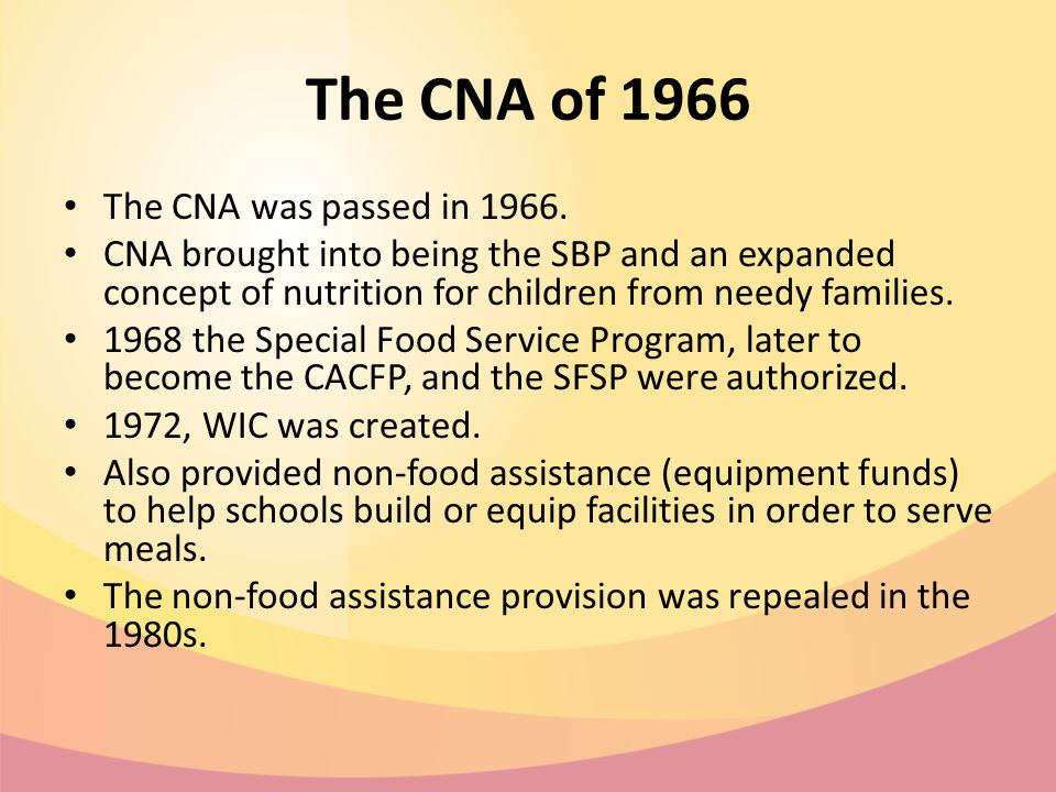 The CNA of 1966 The CNA was passed in 1966.