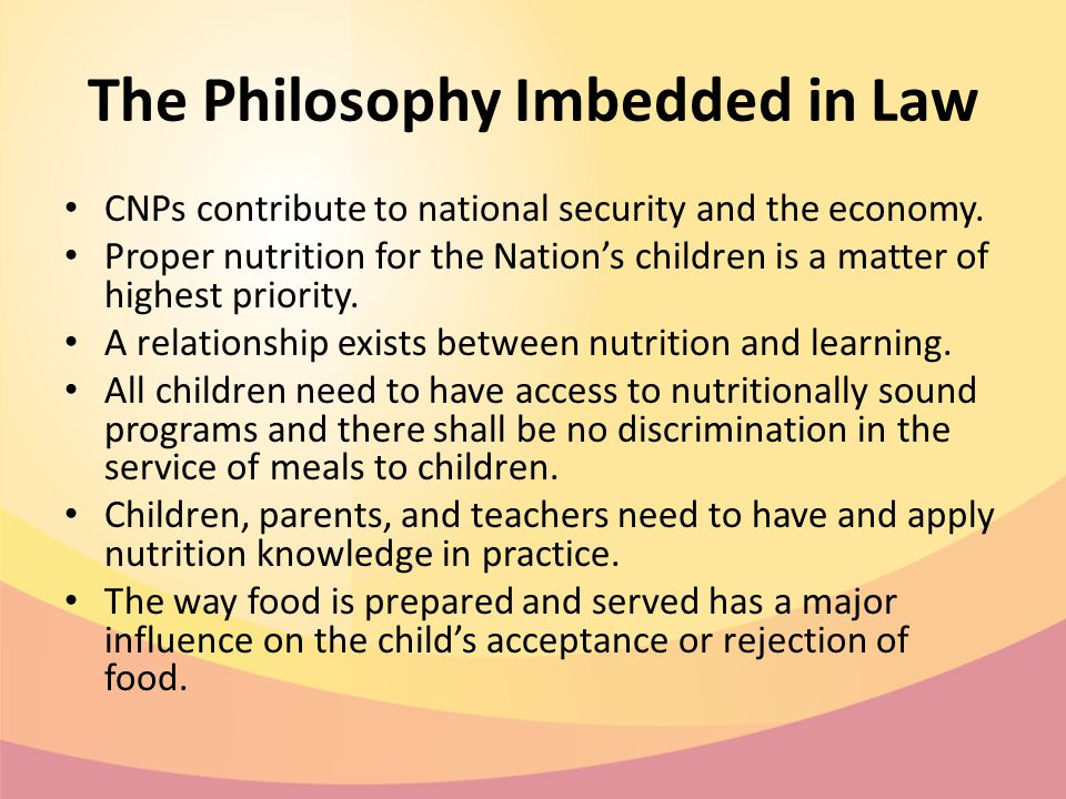 The Philosophy Imbedded in Law CNPs contribute to national security and the economy.
