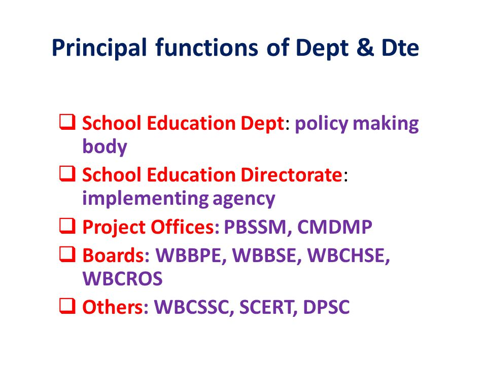 Expert Committee UP & Secondary schools Institutional Arrangement of School Education 5 Department of School Education Directorate of School Education W.B.Board of Primary Education W.B.Board of Secondary Education W.B.
