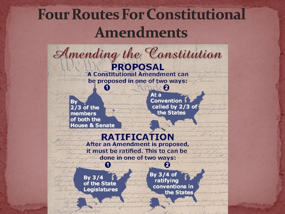 Route 1 Congress proposes amendments directly to the states; these are not subject to a Presidential veto.