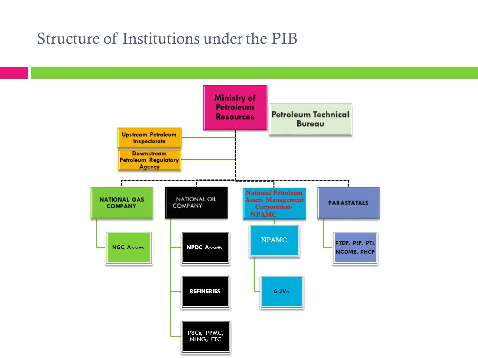 Structure of Institutions under the PIB Ministry of Petroleum Resources NATIONAL GAS COMPANY NGC Assets NATIONAL OIL COMPANY NPDC Assets REFINERIES PS