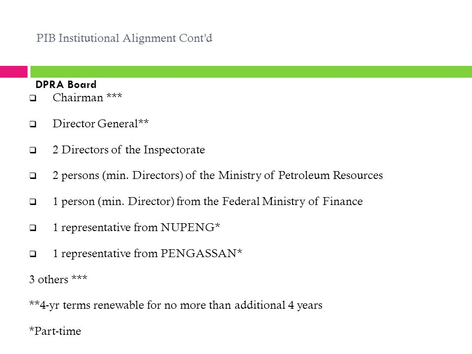PIB Institutional Alignment Cont'd  Chairman ***  Director General**  2 Directors of the Inspectorate  2 persons (min.