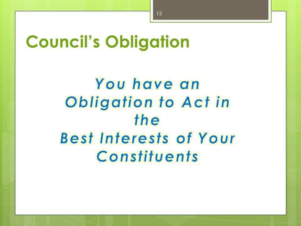 Council's Obligation 13