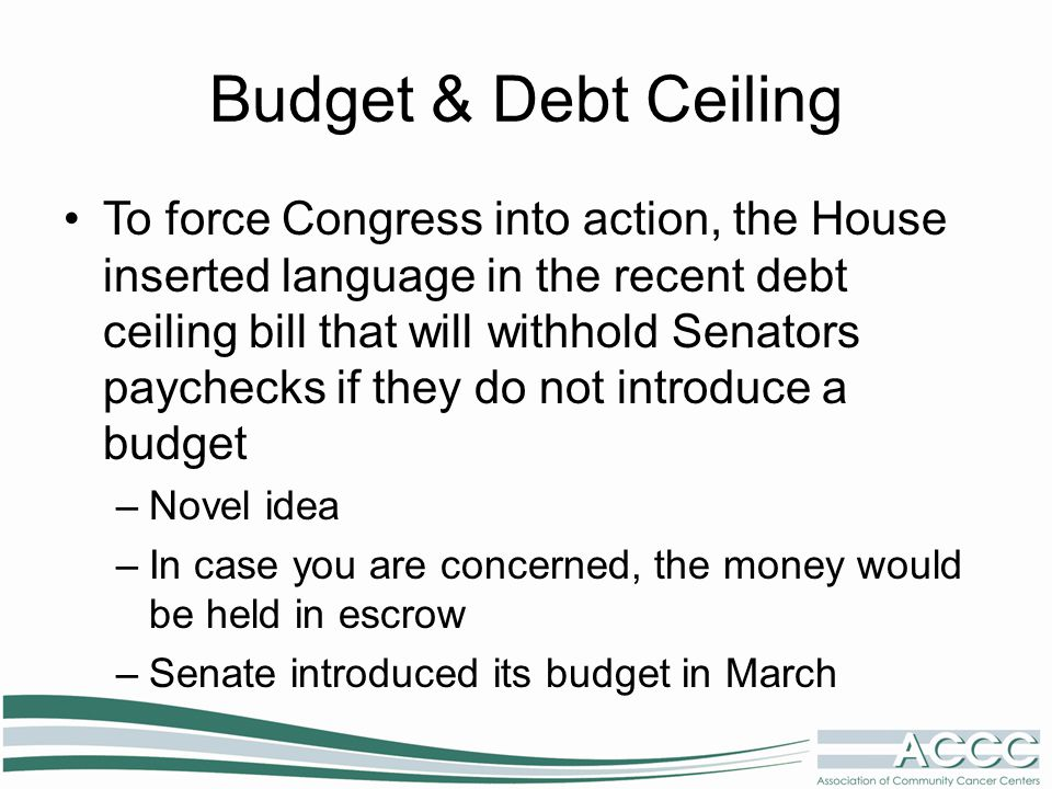 Budget & Debt Ceiling To force Congress into action, the House inserted language in the recent debt ceiling bill that will withhold Senators paychecks if they do not introduce a budget –Novel idea –In case you are concerned, the money would be held in escrow –Senate introduced its budget in March
