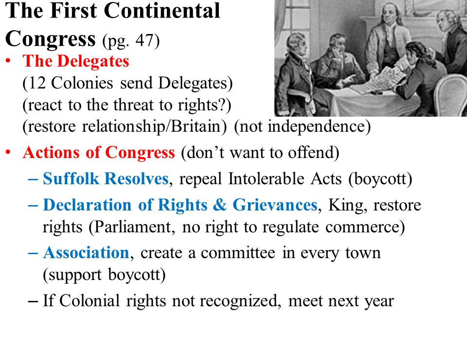 The First Continental Congress (pg.