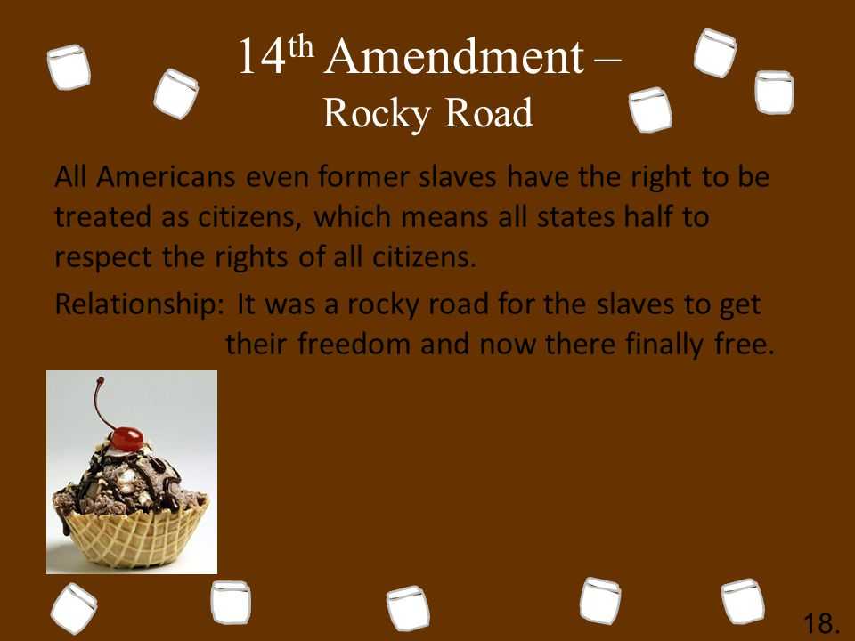 14 th Amendment – Rocky Road All Americans even former slaves have the right to be treated as citizens, which means all states half to respect the rights of all citizens.