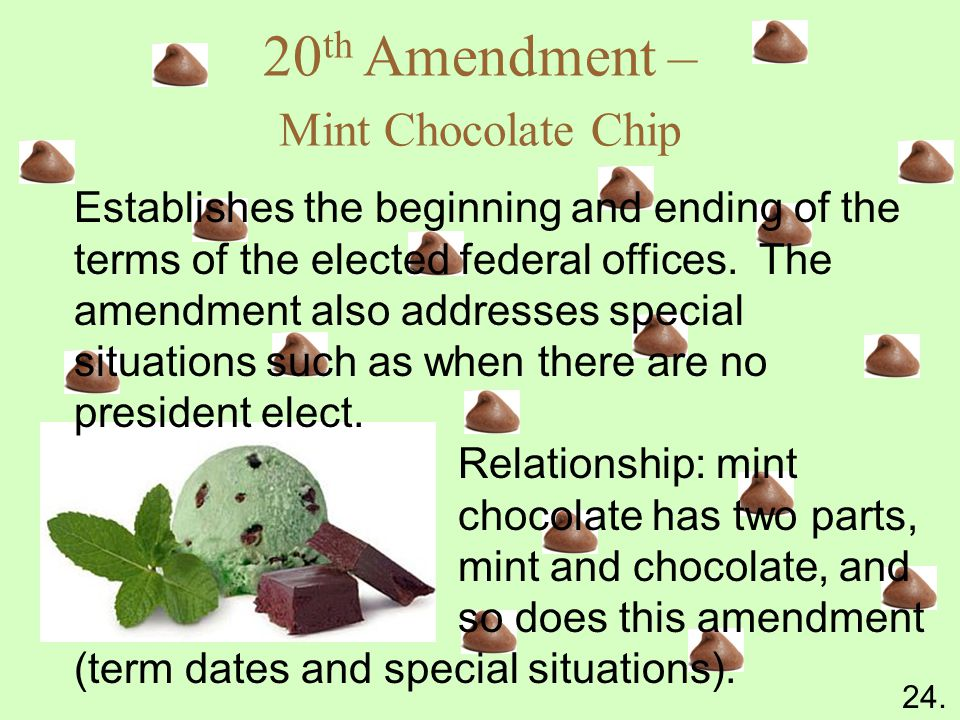 20 th Amendment – Mint Chocolate Chip Establishes the beginning and ending of the terms of the elected federal offices.