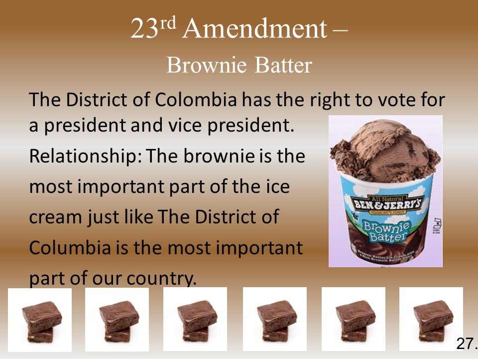23 rd Amendment – Brownie Batter The District of Colombia has the right to vote for a president and vice president.