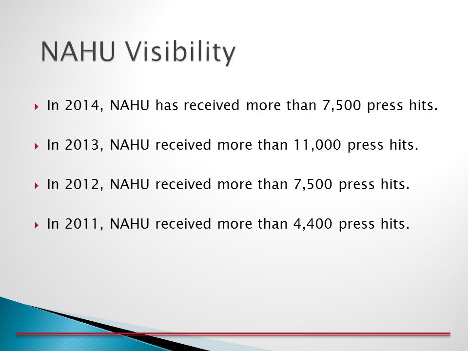 In 2014, NAHU has received more than 7,500 press hits.
