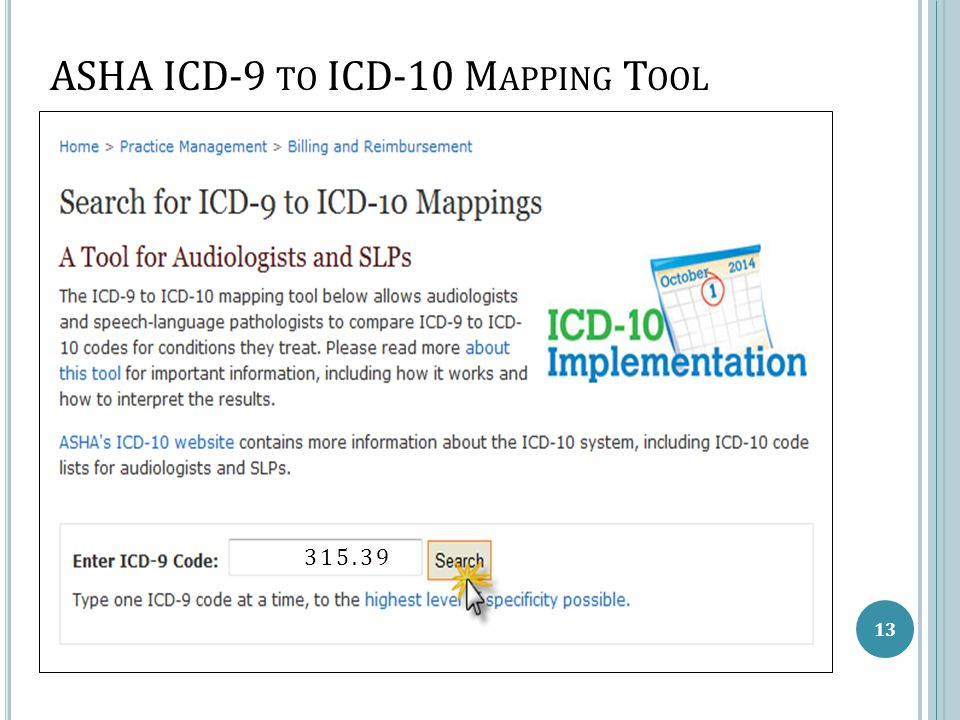 ASHA ICD-9 TO ICD-10 M APPING T OOL 13 315.93