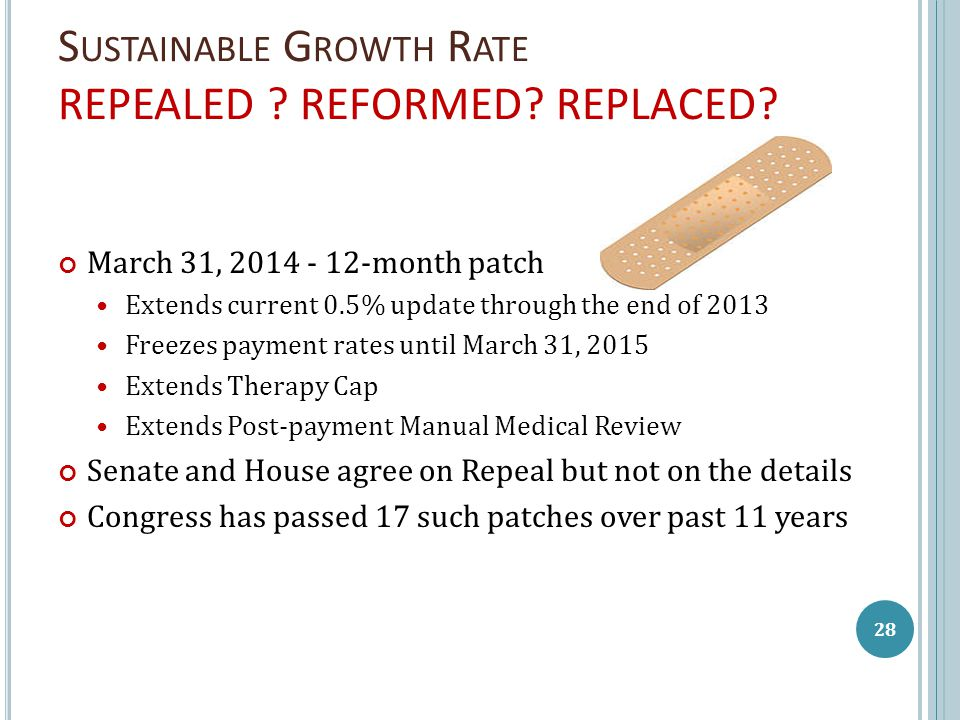 S USTAINABLE G ROWTH R ATE REPEALED . REFORMED. REPLACED.