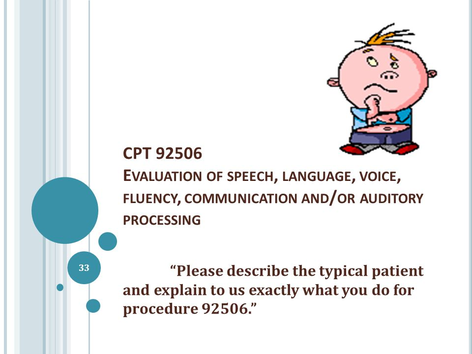 CPT 92506 E VALUATION OF SPEECH, LANGUAGE, VOICE, FLUENCY, COMMUNICATION AND / OR AUDITORY PROCESSING Please describe the typical patient and explain to us exactly what you do for procedure 92506. 33