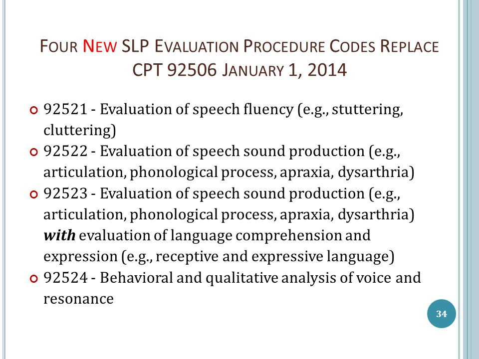 F OUR N EW SLP E VALUATION P ROCEDURE C ODES R EPLACE CPT 92506 J ANUARY 1, 2014 92521 - Evaluation of speech fluency (e.g., stuttering, cluttering) 9