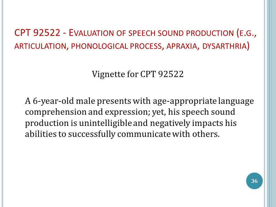 CPT 92522 - E VALUATION OF SPEECH SOUND PRODUCTION ( E.