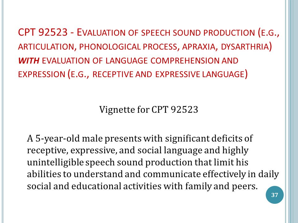 CPT 92523 - E VALUATION OF SPEECH SOUND PRODUCTION ( E. G., ARTICULATION, PHONOLOGICAL PROCESS, APRAXIA, DYSARTHRIA ) WITH EVALUATION OF LANGUAGE COMP