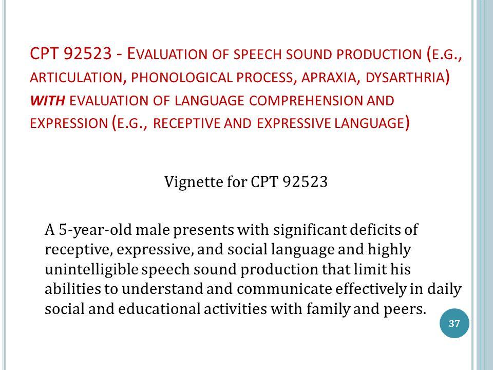CPT 92523 - E VALUATION OF SPEECH SOUND PRODUCTION ( E.