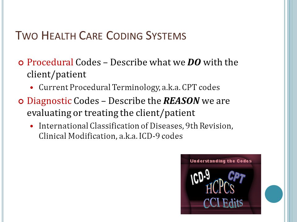 T WO H EALTH C ARE C ODING S YSTEMS Procedural Codes – Describe what we DO with the client/patient Current Procedural Terminology, a.k.a.