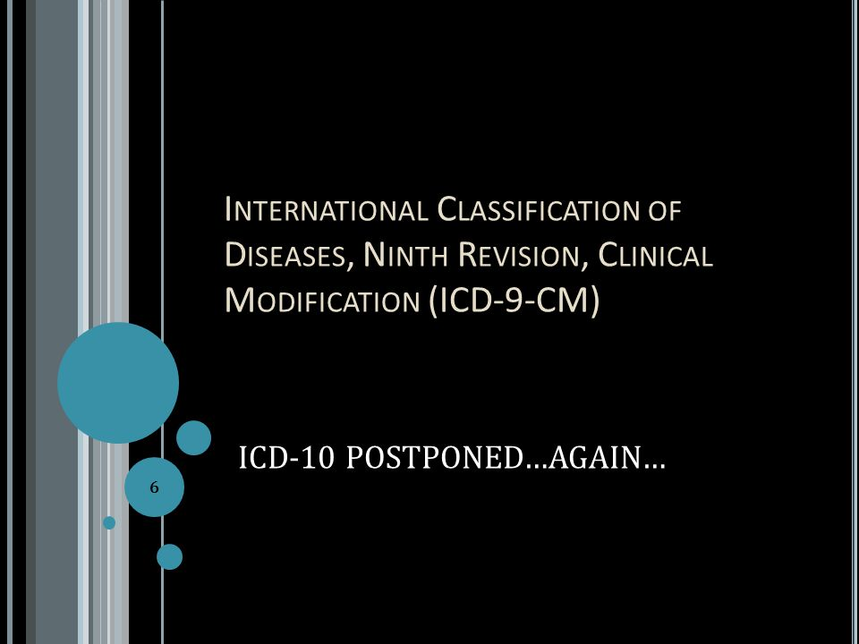 I NTERNATIONAL C LASSIFICATION OF D ISEASES, N INTH R EVISION, C LINICAL M ODIFICATION (ICD-9-CM) ICD-10 POSTPONED…AGAIN… 6
