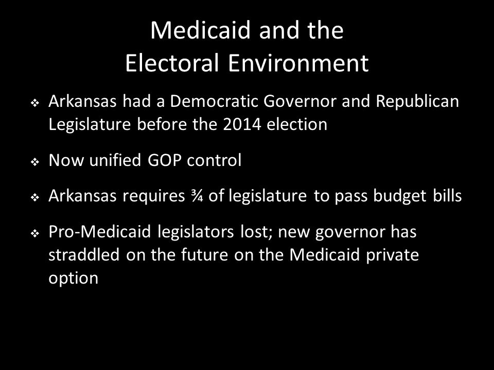 Medicaid and the Electoral Environment  Arkansas had a Democratic Governor and Republican Legislature before the 2014 election  Now unified GOP control  Arkansas requires ¾ of legislature to pass budget bills  Pro-Medicaid legislators lost; new governor has straddled on the future on the Medicaid private option