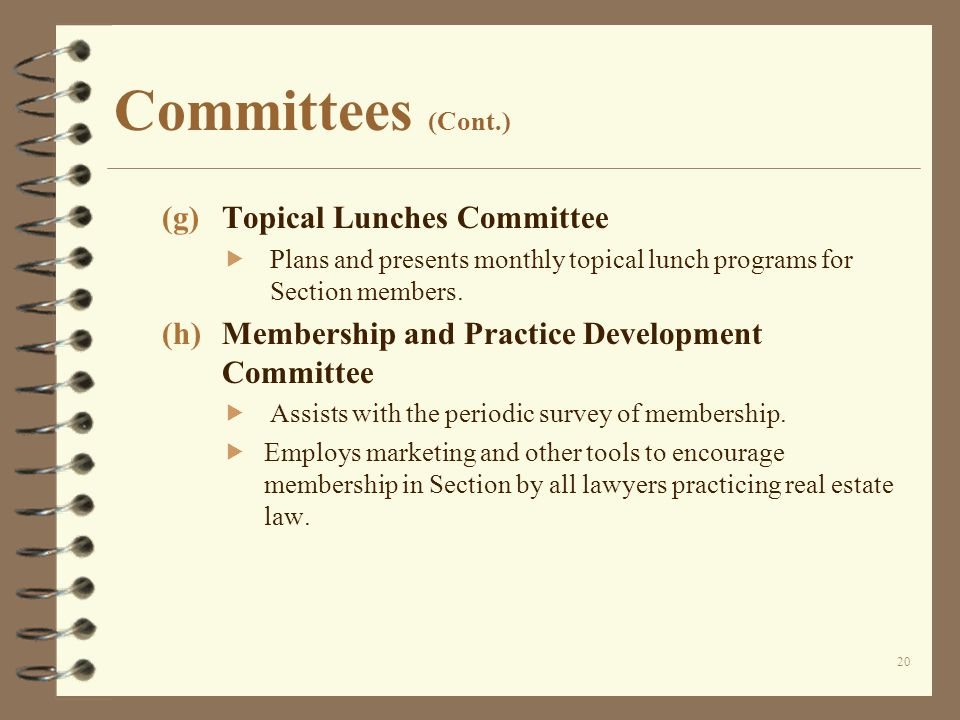 Committees (Cont.) (g)Topical Lunches Committee  Plans and presents monthly topical lunch programs for Section members.
