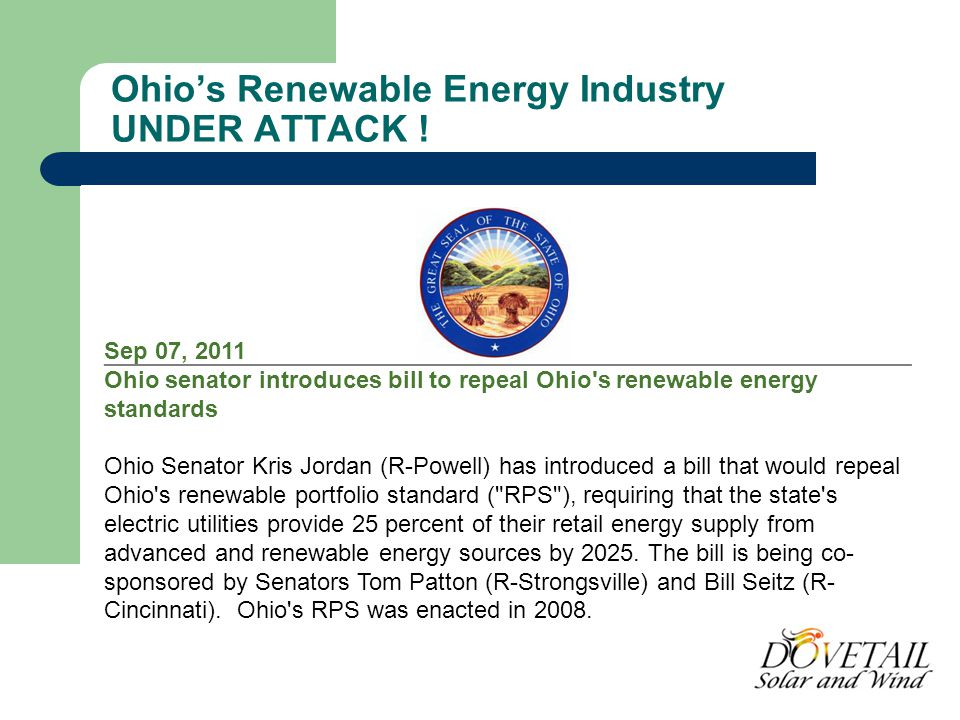 Ohio's Renewable Energy Industry UNDER ATTACK .