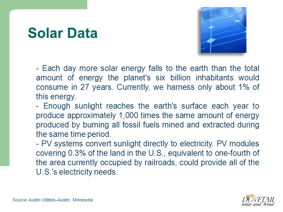 Solar Data - Each day more solar energy falls to the earth than the total amount of energy the planet s six billion inhabitants would consume in 27 years.