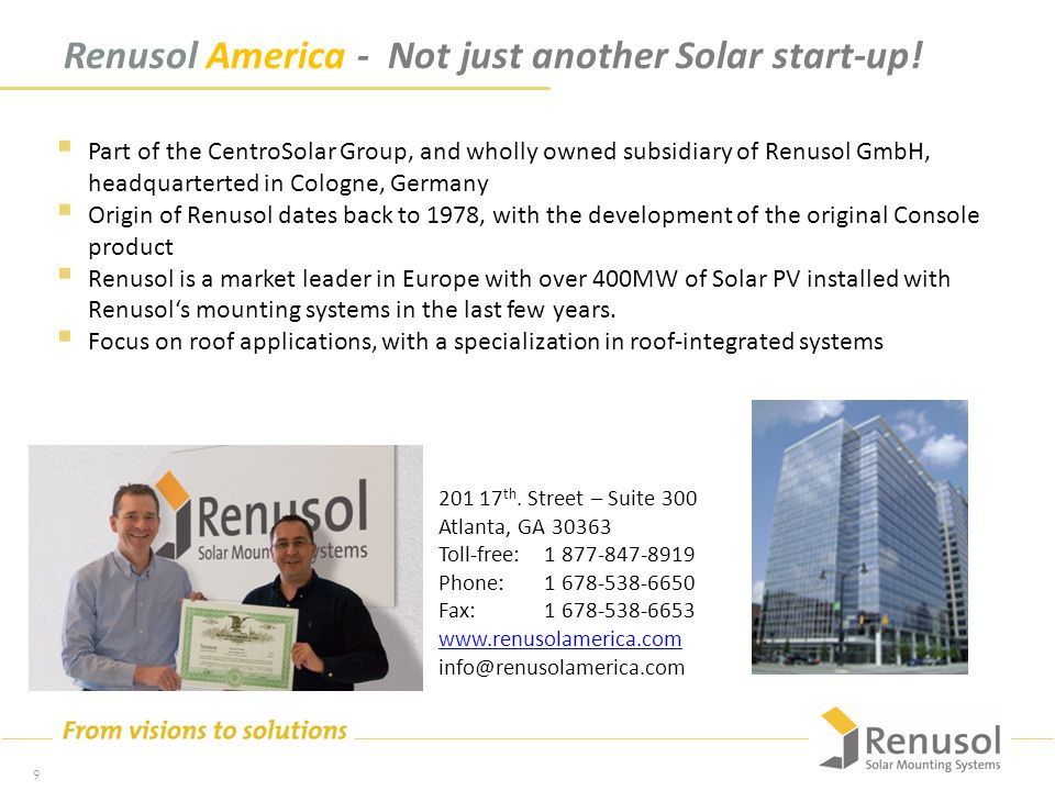Renusol America - Not just another Solar start-up.