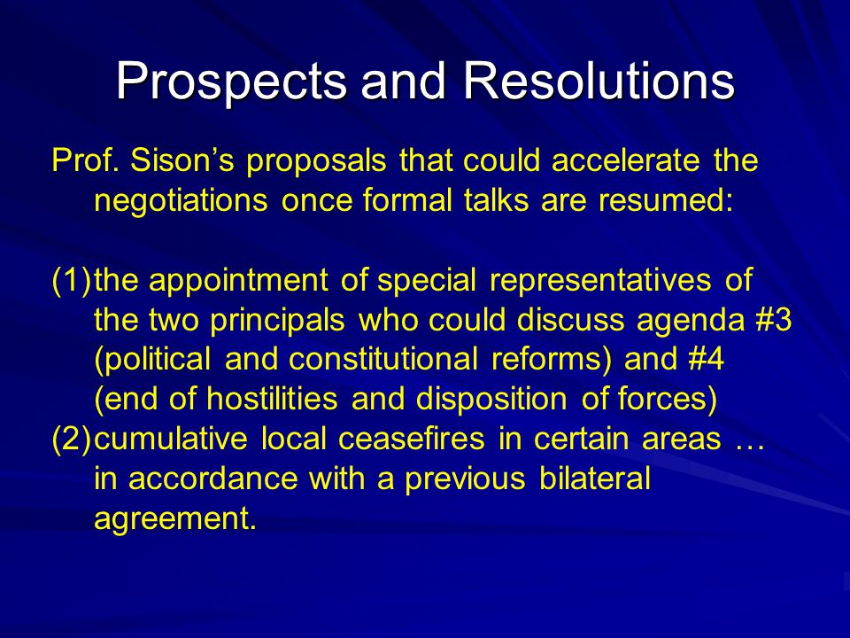 Prospects and Resolutions Prof.