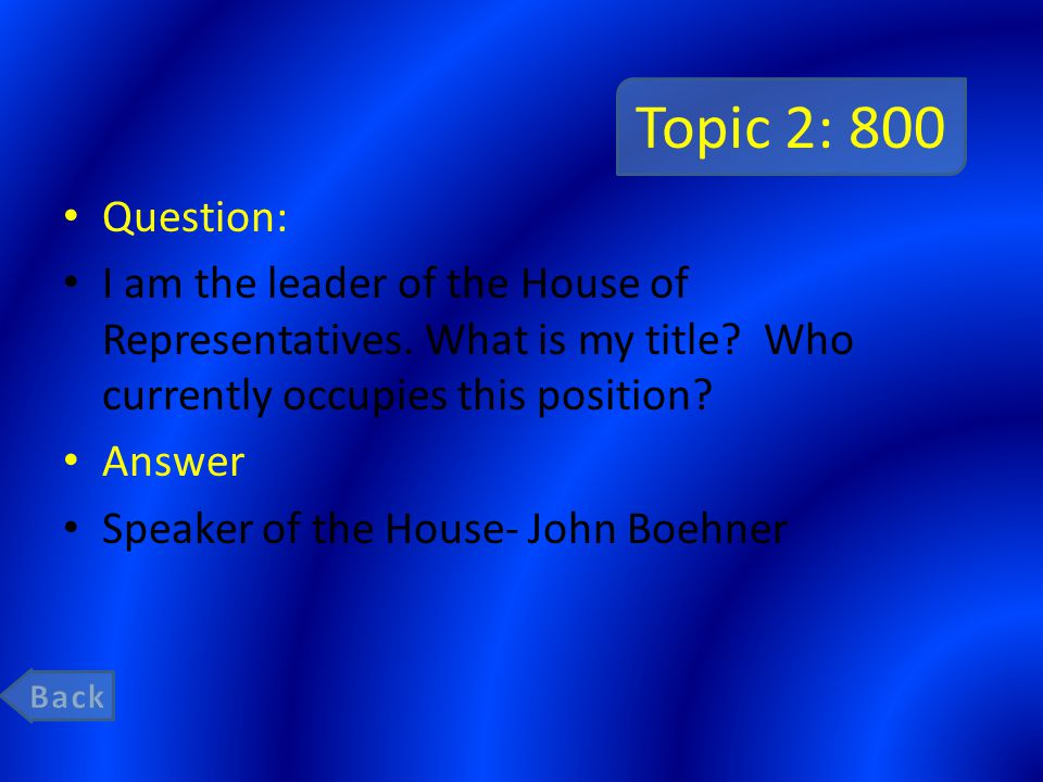 Topic 2: 800 Question: I am the leader of the House of Representatives. What is my title? Who currently occupies this position? Answer Speaker of the