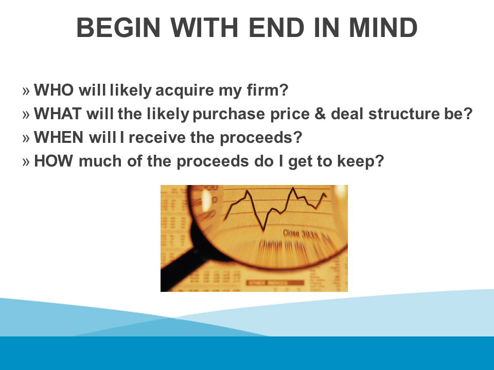 BEGIN WITH END IN MIND »WHO will likely acquire my firm.