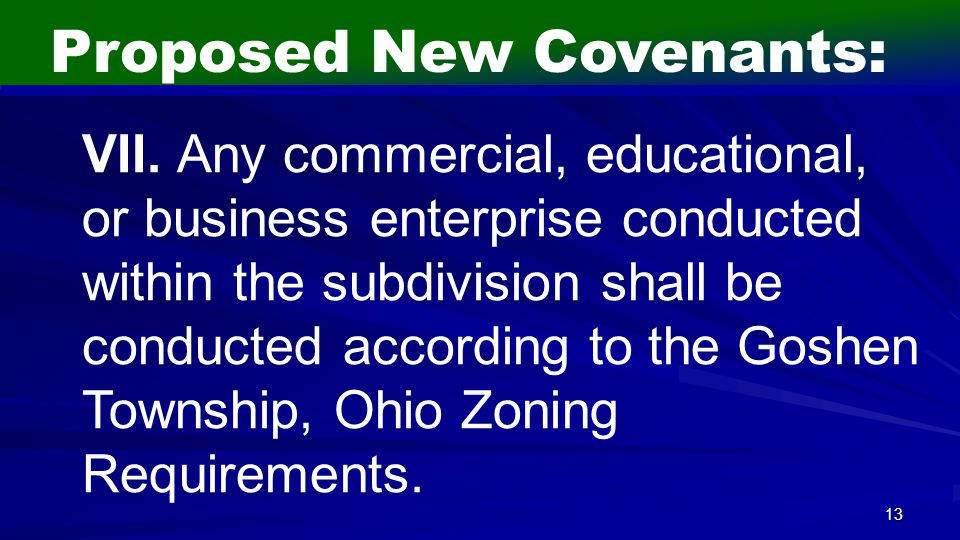 13 Proposed New Covenants: VII.