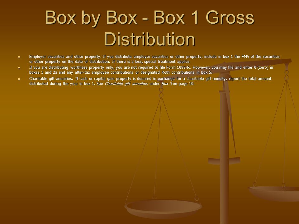 Box by Box - Box 1 Gross Distribution Employer securities and other property. If you distribute employer securities or other property, include in box