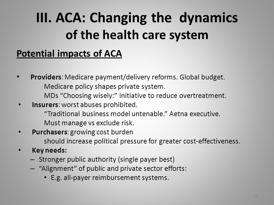 III. ACA: Changing the dynamics of the health care system Potential impacts of ACA Providers: Medicare payment/delivery reforms. Global budget. Medica
