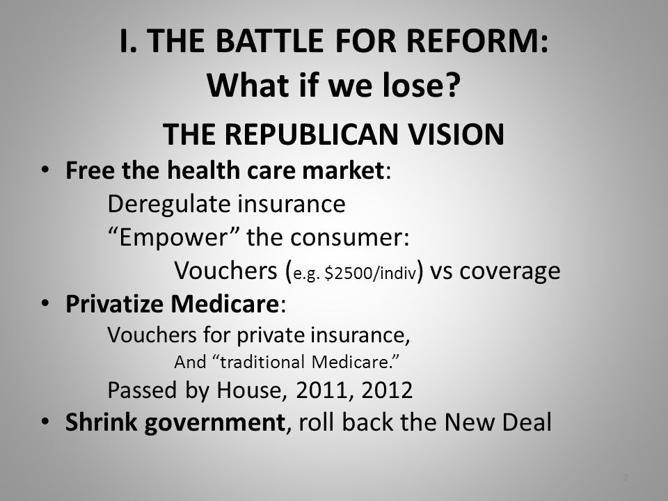 "I. THE BATTLE FOR REFORM: What if we lose? THE REPUBLICAN VISION Free the health care market: Deregulate insurance ""Empower"" the consumer: Vouchers ("