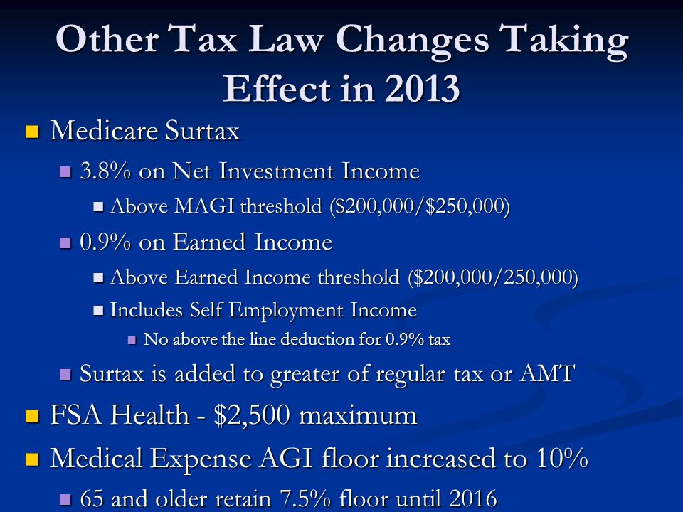 Other Tax Law Changes Taking Effect in 2013 Medicare Surtax Medicare Surtax 3.8% on Net Investment Income 3.8% on Net Investment Income Above MAGI thr