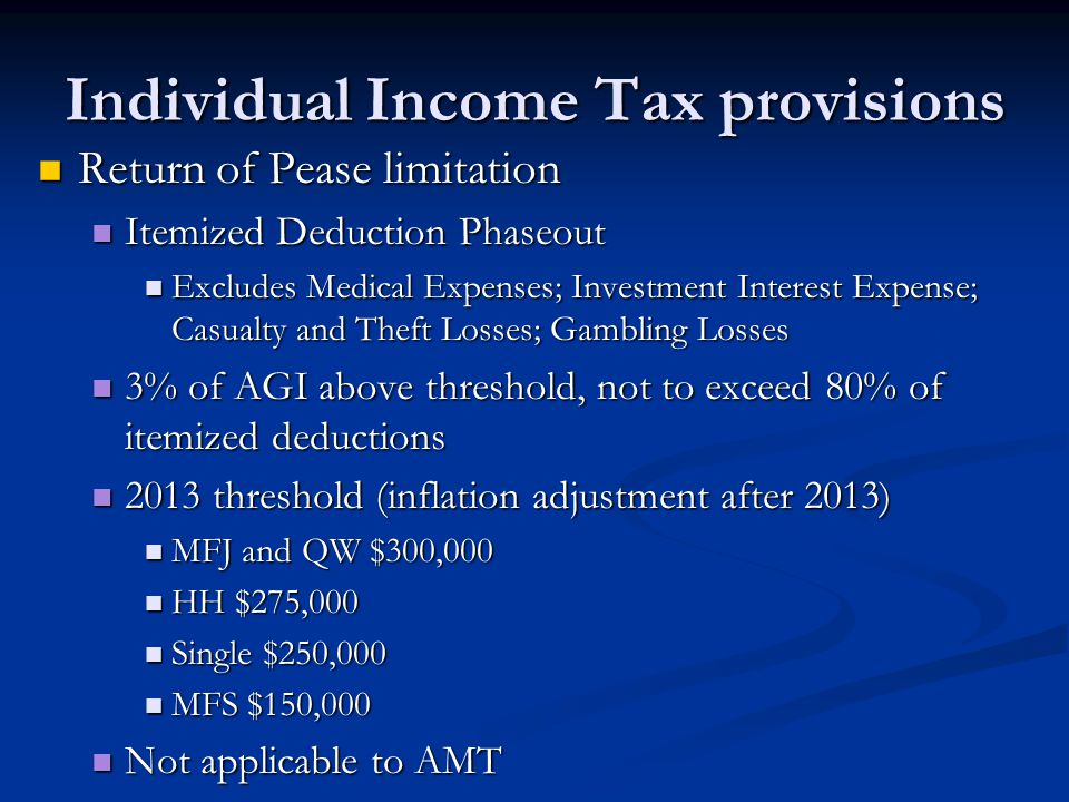 Individual Income Tax provisions Return of Pease limitation Return of Pease limitation Itemized Deduction Phaseout Itemized Deduction Phaseout Exclude