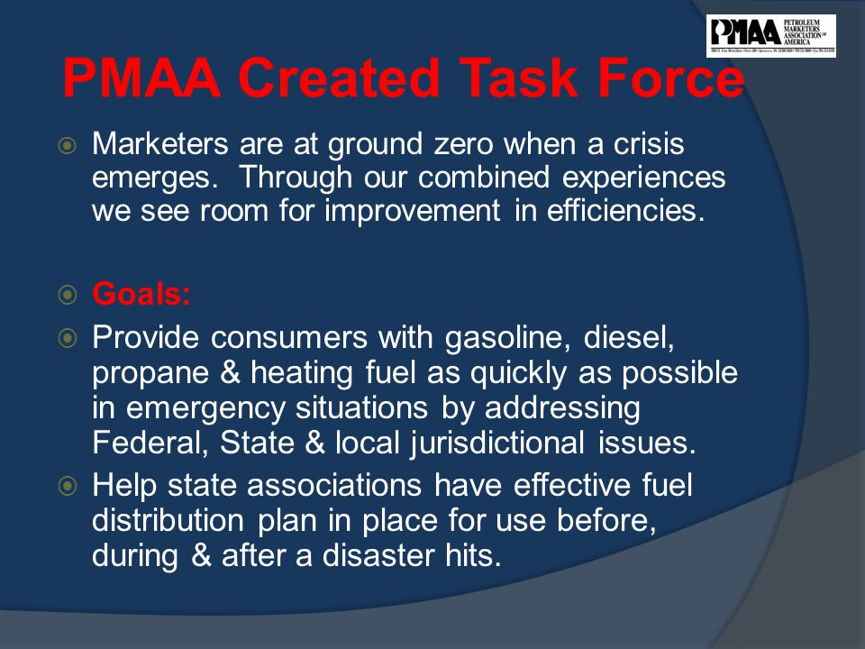 PMAA Created Task Force  Marketers are at ground zero when a crisis emerges.