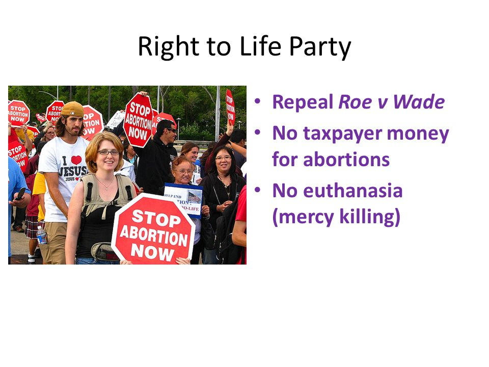 Right to Life Party Repeal Roe v Wade No taxpayer money for abortions No euthanasia (mercy killing)