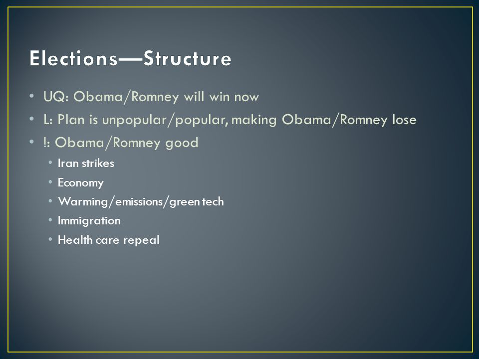 UQ: Obama/Romney will win now L: Plan is unpopular/popular, making Obama/Romney lose !: Obama/Romney good Iran strikes Economy Warming/emissions/green tech Immigration Health care repeal