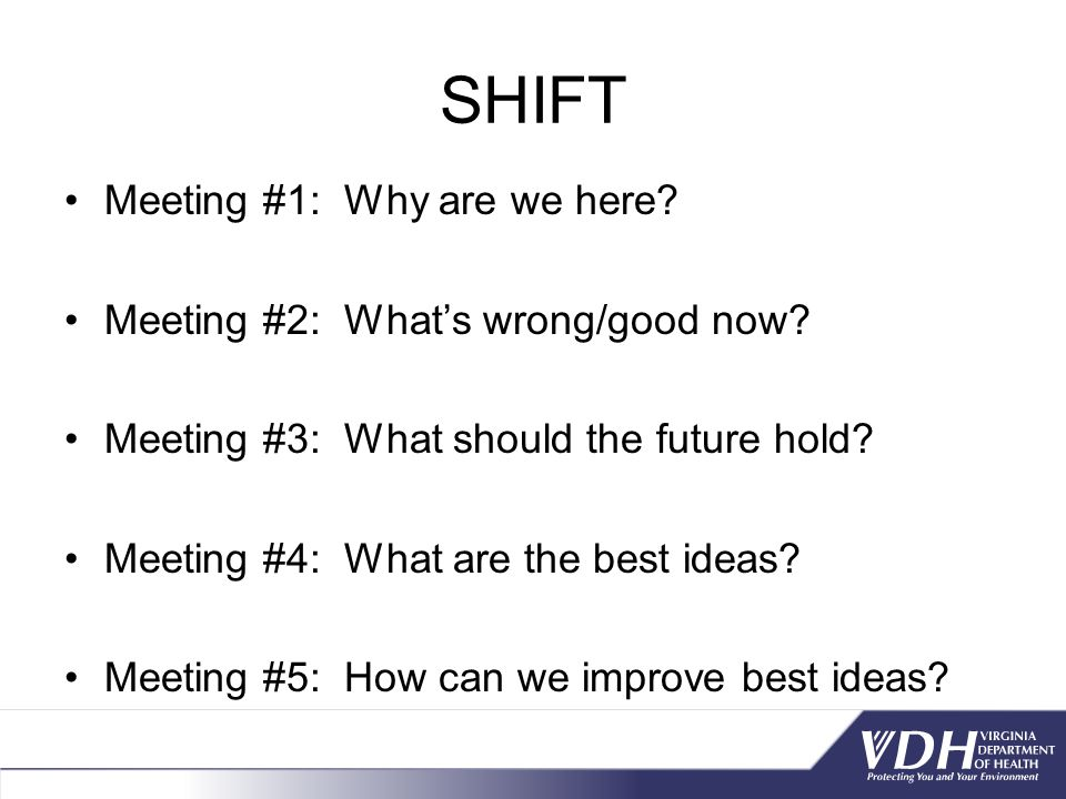 SHIFT Meeting #1: Why are we here.Meeting #2: What's wrong/good now.