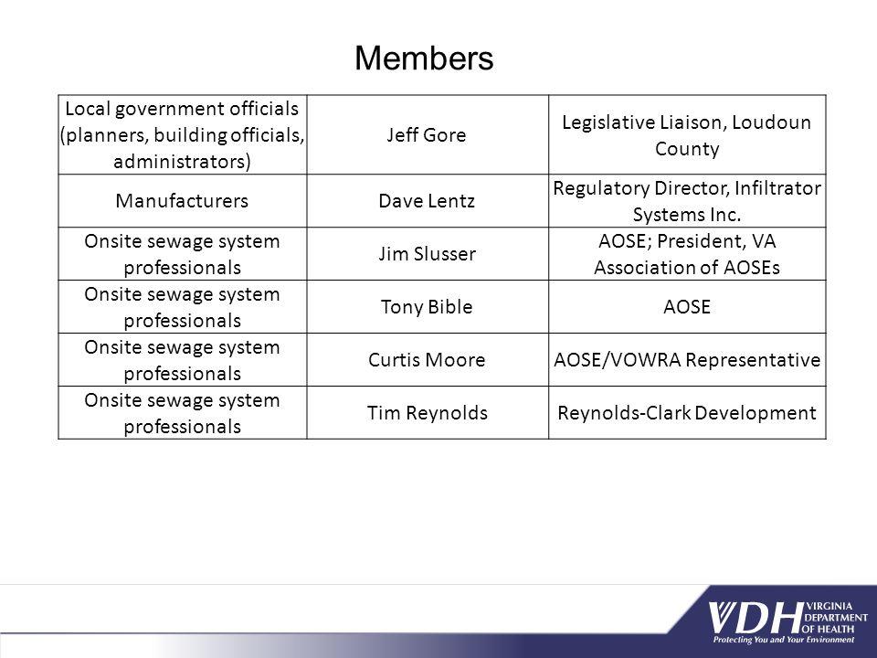Local government officials (planners, building officials, administrators) Jeff Gore Legislative Liaison, Loudoun County ManufacturersDave Lentz Regulatory Director, Infiltrator Systems Inc.