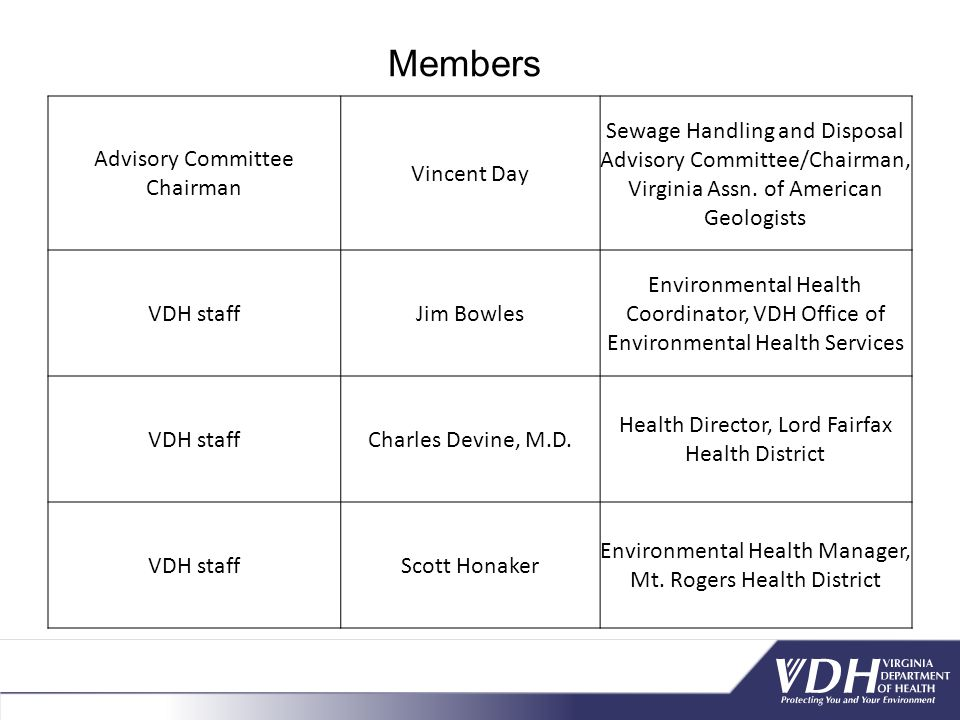 Advisory Committee Chairman Vincent Day Sewage Handling and Disposal Advisory Committee/Chairman, Virginia Assn.
