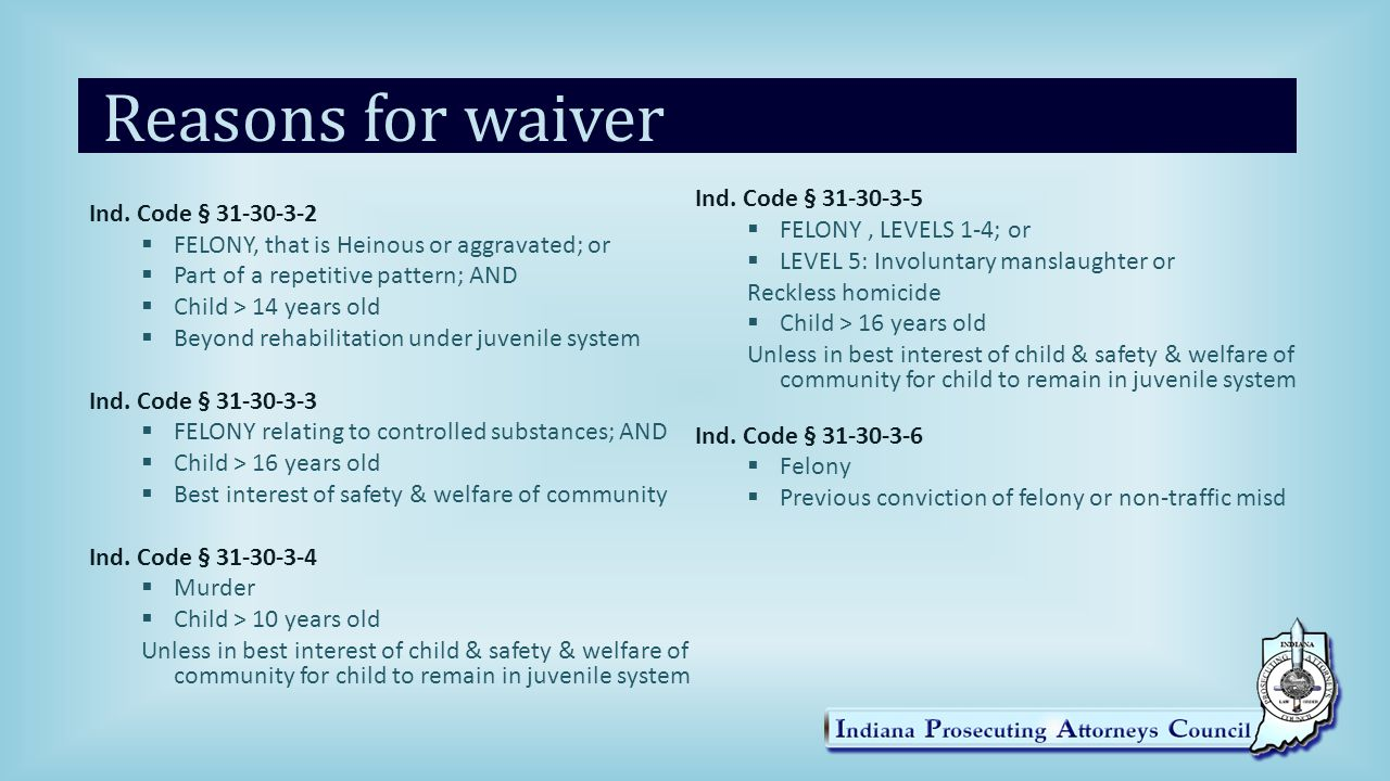 Reasons for waiver Ind.